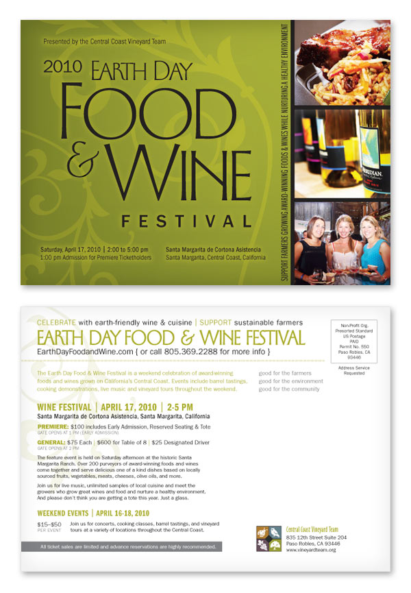 Earth Day Food & Wine Festival, Postcard, 7 x 5 in., 2009