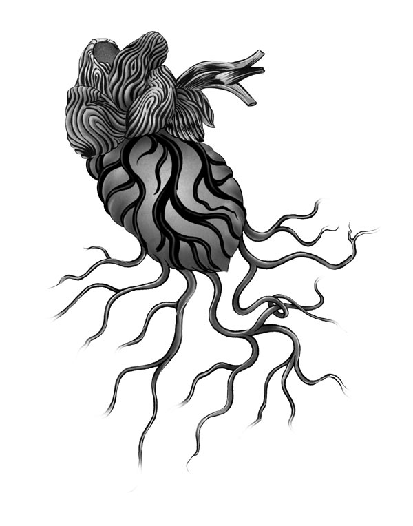 Test the Timber of My Heart: Tattoo (Grayscale), ink and digital, 7 x 10 in., 2011